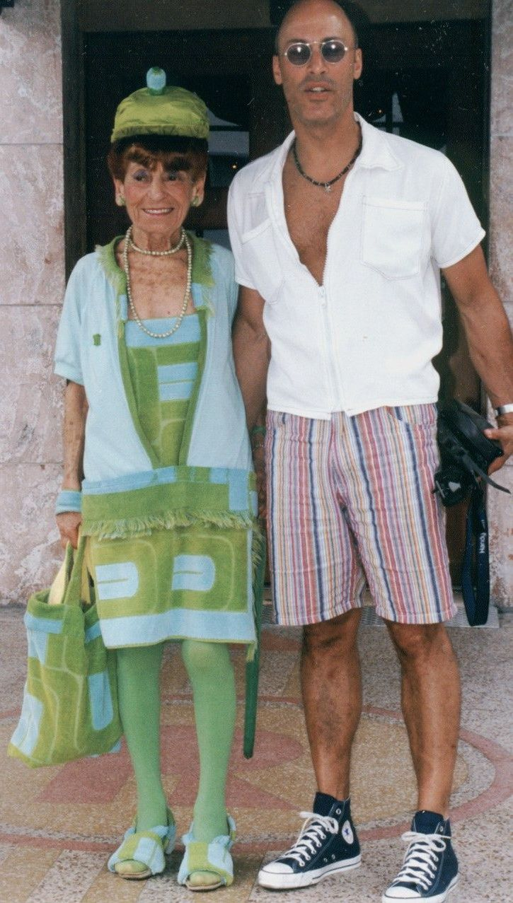 Eric and Irene in her outfit (down to the shoes) made of vintage Pierre Cardin towels that Eric gave her.